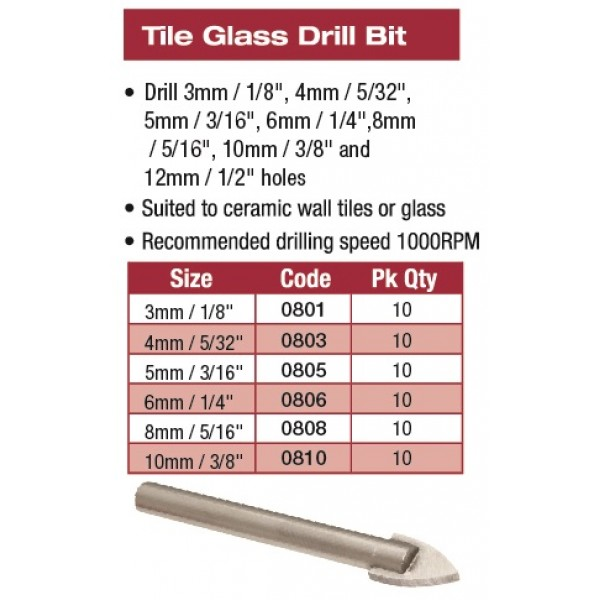 TILE/GLASS DRILL 6MM 1/4""