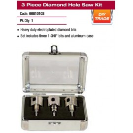 3 PIECE DIAMOND HOLE SAW KIT