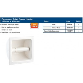"PAPER HOLDER - RECESSED 6X6"" WHITE"