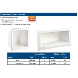 "SOAP HOLDER - RECESSED 6X6""  WHITE"