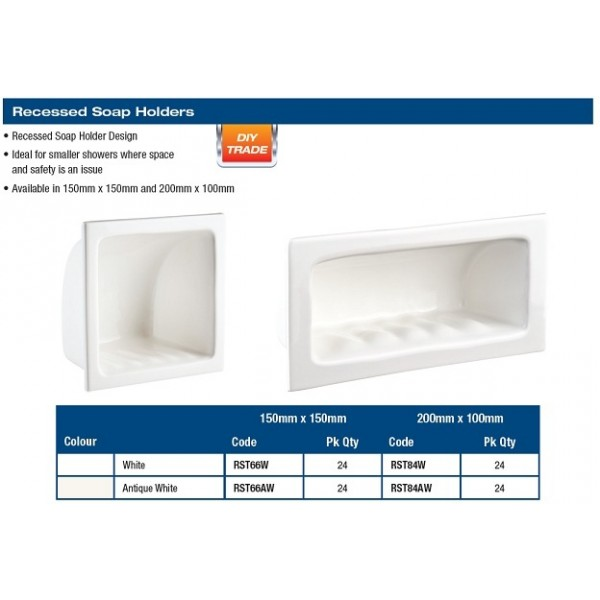 """SOAP HOLDER - RECESSED 6X6""""  WHITE"""