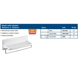 "SHELF WITH CHROME HOLDER 12X4"" WHITE"
